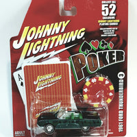 Johnny Lightning #3 Poker 1961 Ford Thunderbird With Card & Poker Chip 1/64 Scale Diecast Car