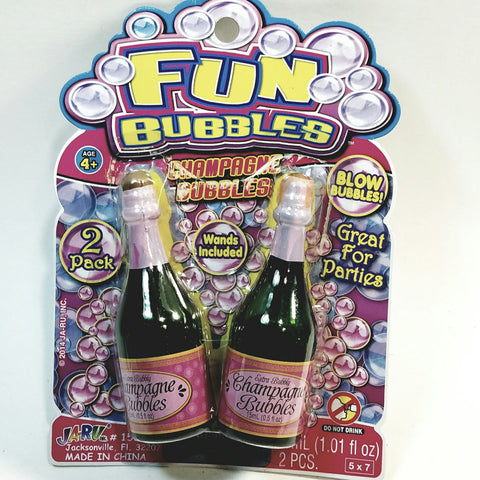 Fun Bubbles Champagne Bubbles 2 Pack of 1oz Plastic Bottles for Parties, Weddings, Festive Occasions