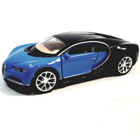 "Welly Bugatti Chiron Powder Blue & Black Hard Top 4.5"" Scale Diecast Car"