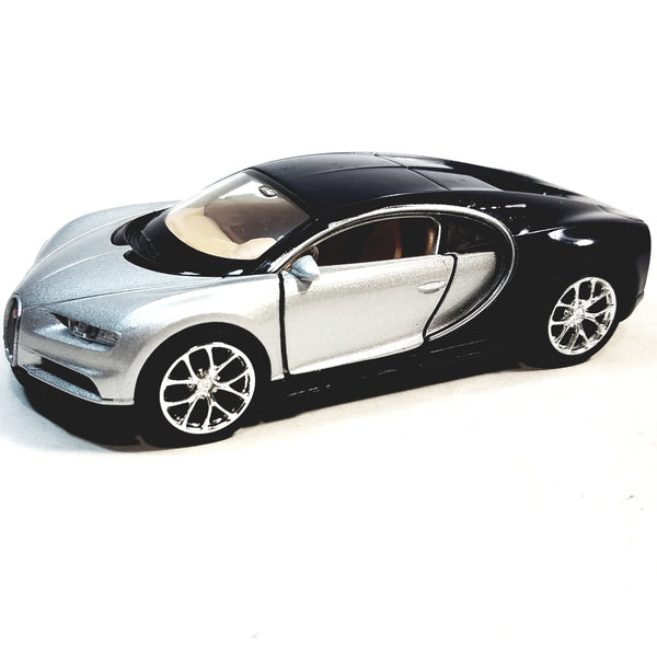 "Welly Bugatti Chiron Silver & Black Hard Top 4.5"" Scale Diecast Car"