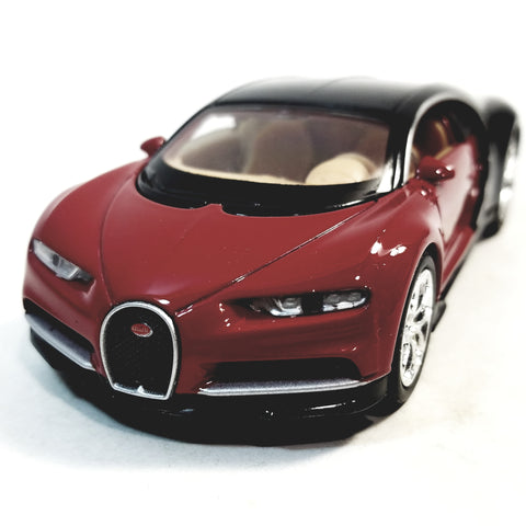 "Welly Bugatti Chiron Candy Apple Red & Black Hard Top 4.5"" Scale Diecast Car"