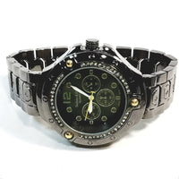 Techno King Mens Gun Metal Black Finish 20+ Lab Diamonds Dress/Casual Mens Watch Face Watch Metal Band Bling