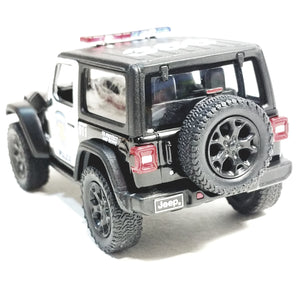 Kinsmart 2018 Jeep Wrangler Rubicon Black & White Police Unit SUV 1/34 Scale Diecast Vehicle