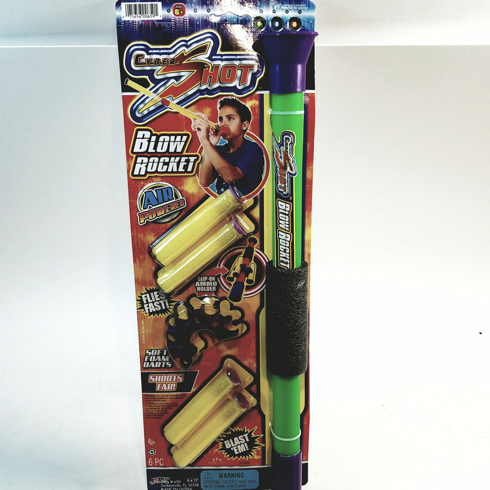 Cyber Shot Air Powered Blow Shot Foam Blaster Toy Foam Dart Shooter with 4 Soft Foam Darts & Ammo Holder