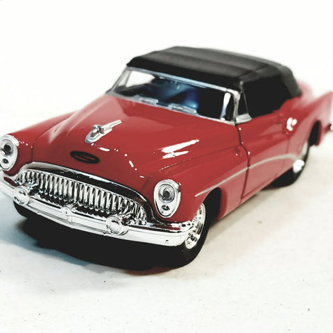 Welly 1953 Fire Engine Red Buick Skylark Top Up Convertible 1/34 Scale Diecast Car