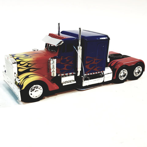 Jada Transfomers Blue & Red Western Star 5700 XE Phantom Optimus Prime With Flames  1/3 Scale Diecast TrucK