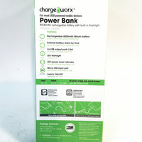 Charge Worx Black & White Portable Power Bank 6000mAH with USB Rechargeable Battery Pack