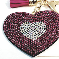 Pink & Silver Heart With Tassel Studded Lab Diamond Bling Keychain