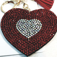 Red & Silver HEART With Tassel Studded Lab Diamond Bling Keychain