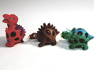 Dino World Dinosaur Squish Jelly Bead Ball Set of 3 T-Rex Triceratops Stegosaurus Stress Relief Toy