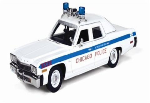 Auto World R2 1974 White Dodge Monaco Chicago Police Squad Car 1/43 Scale Res...