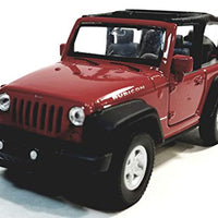 Welly Fire Red Jeep Wrangler Rubicon Opentop 1/38 O Scale Diecast Car
