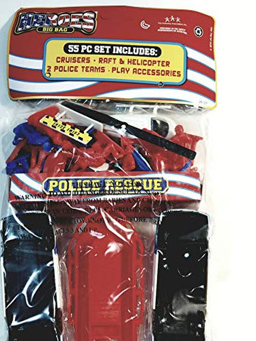 BIG BAG HEROES Police Rescue 55 Piece Blue & Red Police Officers Squad Cars Boat & Helicopter Set