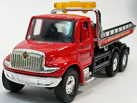 Showcast Red International Busted Knuckle Garage Flatbed Tow Truck Functional...