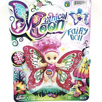 Mythical Moon Red & Pink Fairy Doll With Hair & Flapping Wings