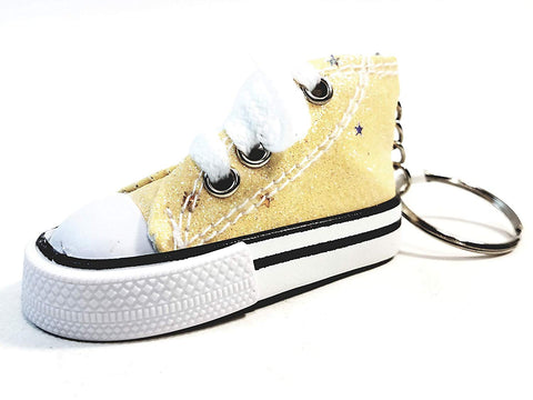 Hi-Top White Laced Canary Yellow Glitter & Stars Sneaker Keychain