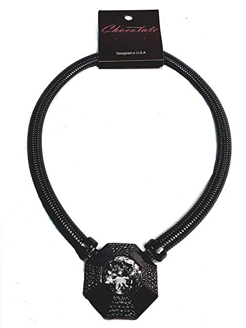 Hematite Black Plated Hexagon Large Lab Diamond Pendant Omega Link 20