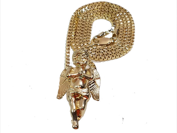"Praying Angel Folded Hands Charm 2mm Gold Tone Chain & Micro Pendant Set With 24"" Box Link Necklace."