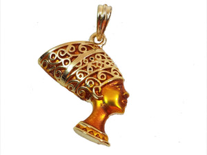 "Queen Nefertiti Gold Plated Micro Pendant 1.5"" Piece"