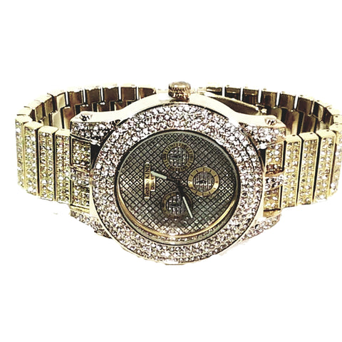 Techno King Mens XXL Gold Finish Lab Diamonds Mens Dress Watch Gold Face Watch Metal Band Bling