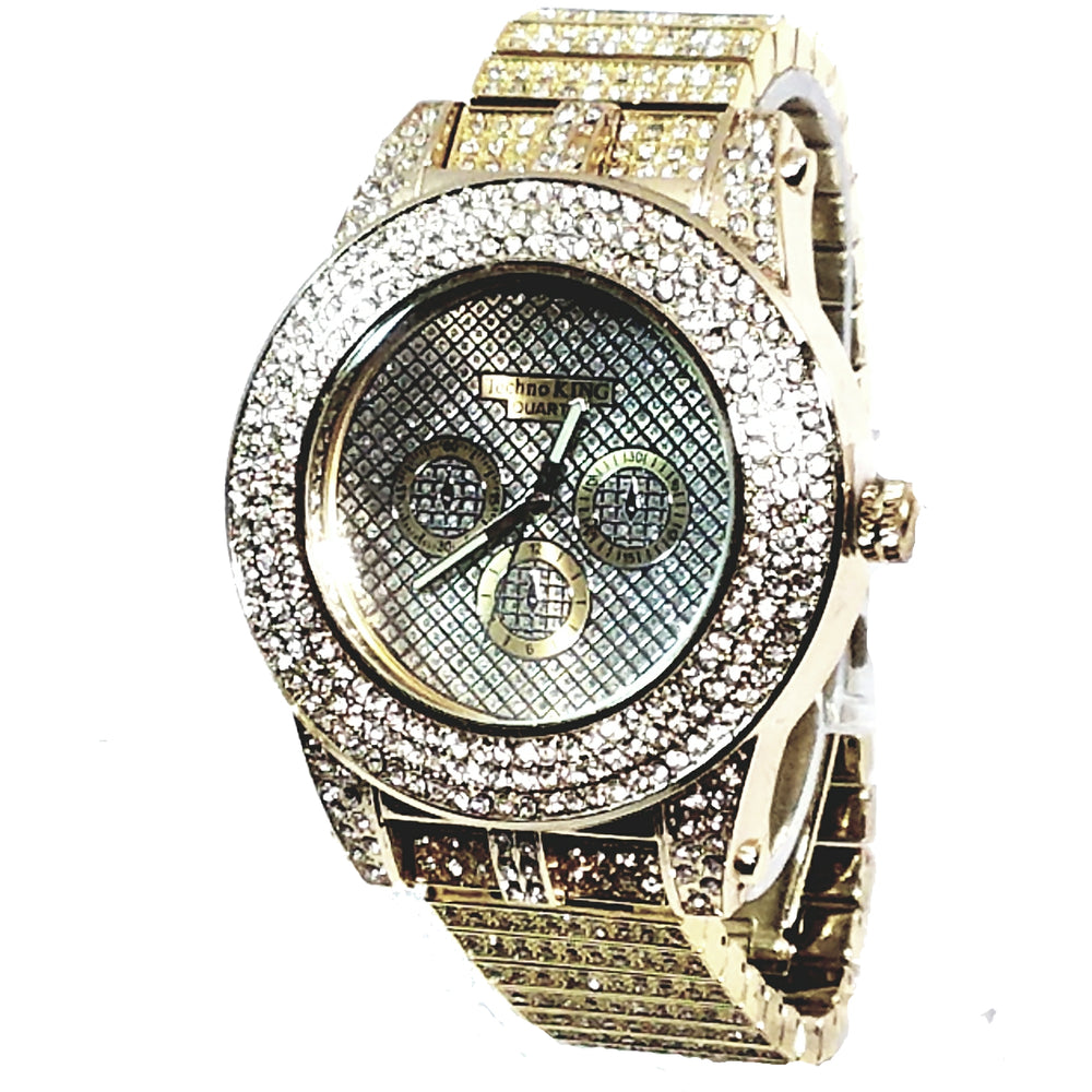 Techno King Mens XL Gold Finish Lab Diamonds Mens Dress Watch Gold Face Watch Metal Band Bling