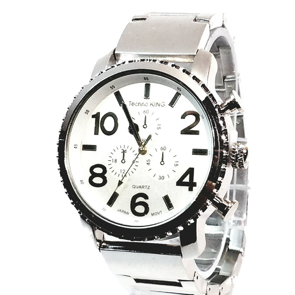 Techno King Mens Silver Finish Dress/Casual White Face Watch Metal Band Urban Bling