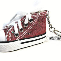 Hi-Top White Laced Hot Pink Glitter & Stars Sneaker Keychain