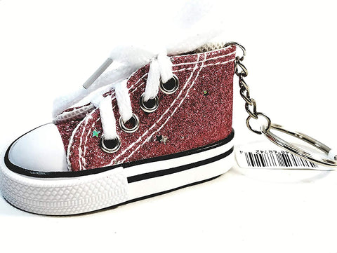 Hi-Top White Laced Ravishing Red Glitter & Stars Sneaker Keychain