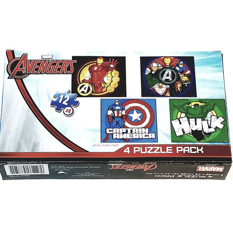 "Cardinal Marvel The Avengers 4 Puzzle Set 12 Piece 5""X4.5"" Jigsaw Puzzle Collectors Item"