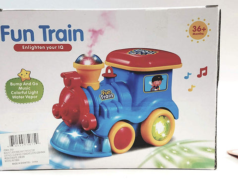 Fun Train Bump & Go Locomotive with Real Steam Sound & Lights Toddler Toy