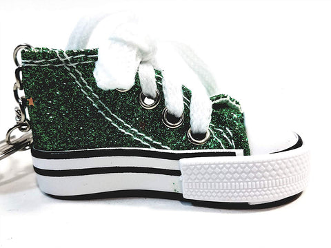 Hi-Top White Laced Lime Green Glitter & Stars Sneaker Keychain