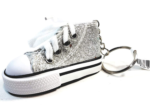 Hi-Top White Laced Silver Glitter & Stars Sneaker Keychain