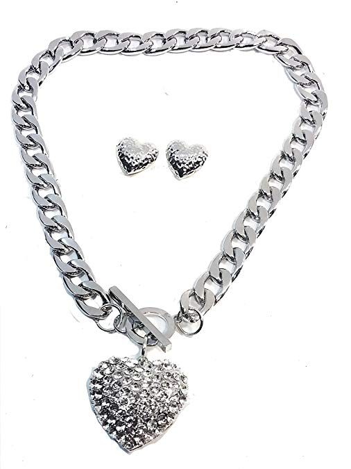 Silver Plated Chunky 3D Heart with Lab Diamonds Pendant Chunky Link 20