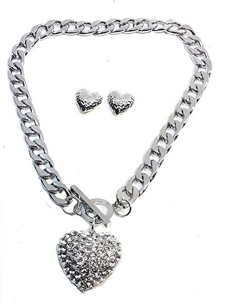 "Silver Plated Chunky 3D Heart with Lab Diamonds Pendant Chunky Link 20"" Necklace 4mm Chain w/Heart Shape Earring Set"