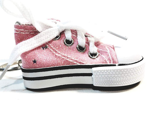 Hi-Top White Laced Pink Glitter & Stars Sneaker Keychain