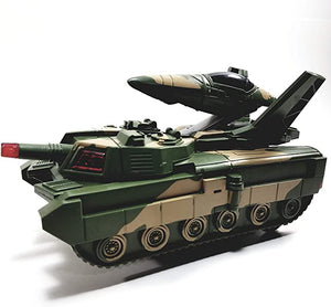 Didai Aircraft & Tanks 2in 1 Camouflage Transforming Military Lights & Sounds B/O with Bump & Go Action