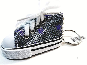 SF Toys Hi-Top White Laced Blue Jeans Design & Purple Stars Sneaker Keychain