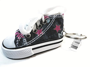 SF Toys Hi-Top White Laced Blue Jeans Design & Pink Stars Sneaker Keychain