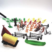 Big Bag Wild West 37 Piece 5 Color Figures/Fence/TeePee/Wagon/Totem Pole Horses & Canoe