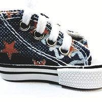 SF Toys Hi-Top White Laced Blue Jeans Design & Orange Stars Sneaker Keychain