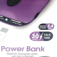 ChargeWorx Portable Power Bank 4000mAH With USB Rechargeable Battery Pack Purple Rapid Charge & LED FlashLight