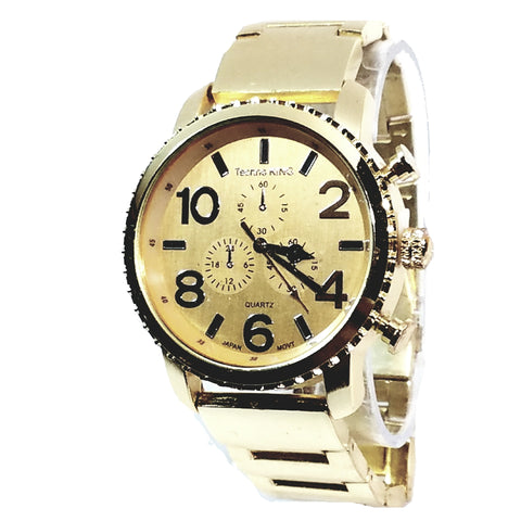 Techno King Mens Gold Finish Dress/Casual Gold Face Watch Metal Band Urban Bling