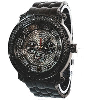 Techno King Mens Gun Metal Black Finish Dress/Casual Mens Watch Black Gold Frosted Face Watch Metal Band Bling