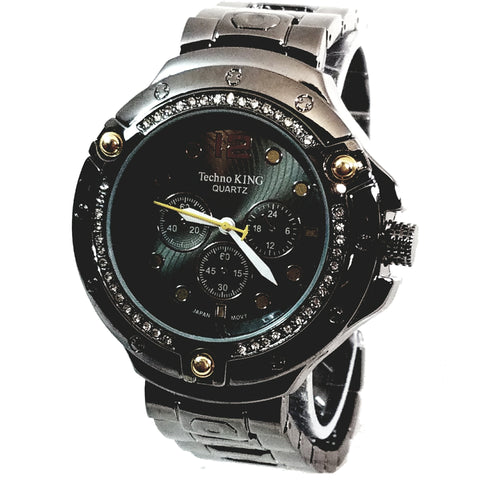 Techno King Mens Gun Metal Black Finish Lab Diamonds Dress/Casual Mens Watch Face Watch Metal Band Bling