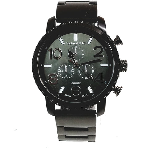 Techno King Mens Gun Metal Black Finish Dress/Casual Black Face Big Number Dial Watch Metal Band Urban Bling