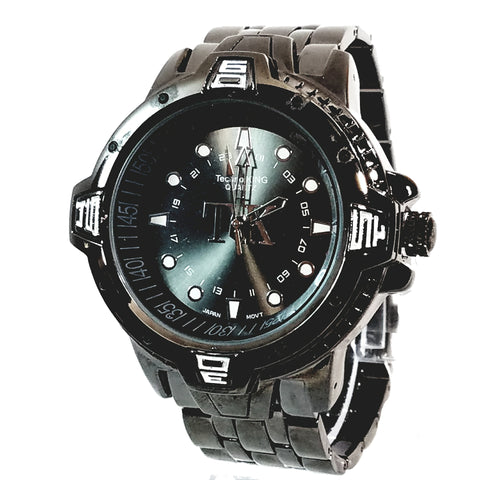 Techno King Mens Gun Metal Black Finish Dress/Casual Brown Face Watch Metal Band Urban Bling