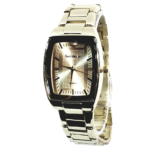 Gino Milano Gold Finish Gold Rectangular Face Mens Casual-Dress Watch Metal Band 2355