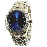 Techno Pave Gold Finish Iced Out Lab Diamond Blue Face Mens Watch Metal Band Round Case 8921