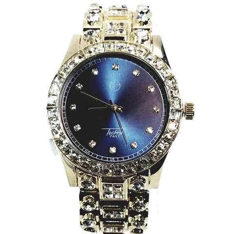 Techno Pave Gold Finish Iced Out Lab Diamond Blue Face Mens Watch Metal Band Round Case 7710
