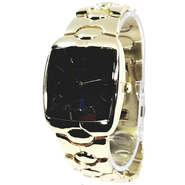 Gino Milano Gold Finish Blue Square Face Mens Casual-Dress Watch Metal Band 2357
